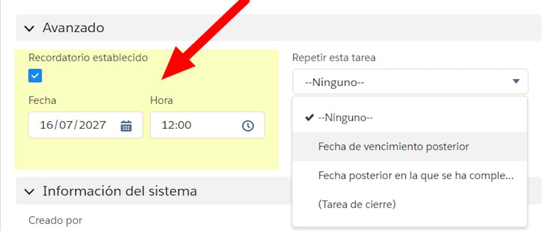 """Es posible generar """"Alarmas o Recordatorios"""" en Calendario?"""