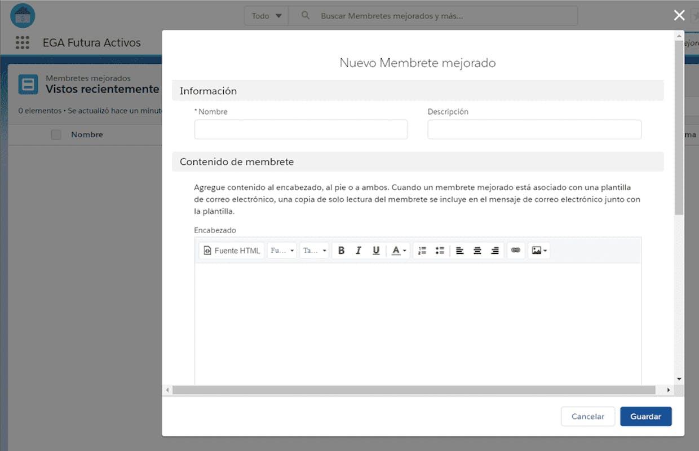 Cuál es la funcionalidad de la opción Membrete mejorado dentro de Plantilla de correo electrónico?
