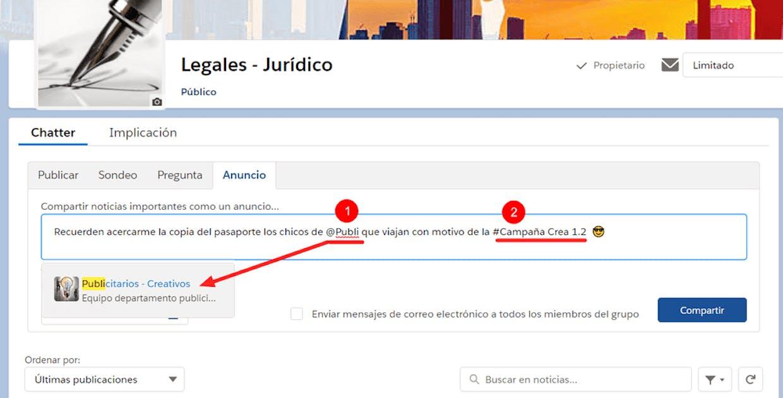 1- Vínculo de la @mencion se activa. 2- Vínculo del #Tema no se activa