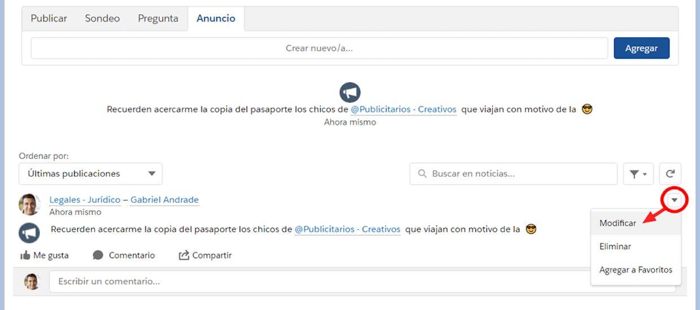 Como agregar un tema (#Tema) en un anuncio de Chatter?