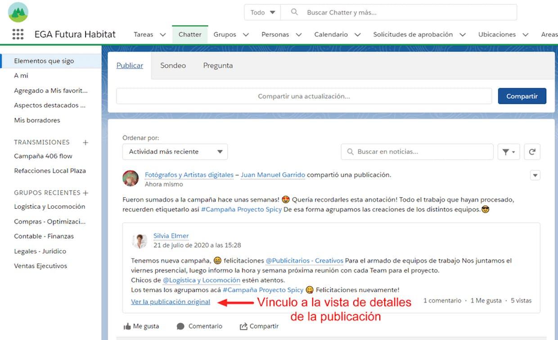 Como compartir un link o vínculo directo a una publicación de Chatter?