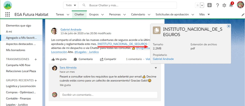 Como vincular un registro de la base de datos en una publicación o comentario de Chatter? Para que desde la publicación se pueda acceder a ese registro