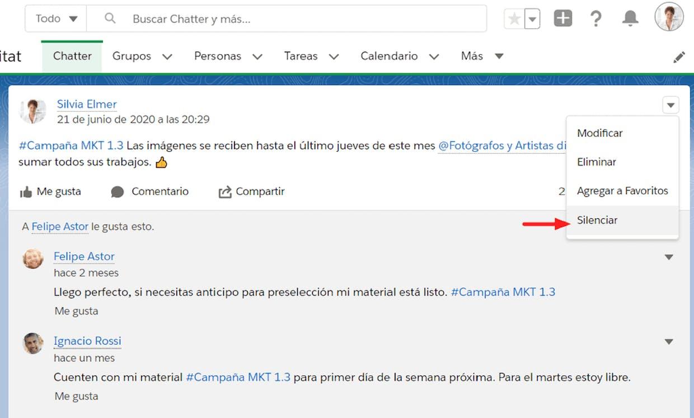 Es posible silenciar las notificaciones de una publicación de Chatter en particular?