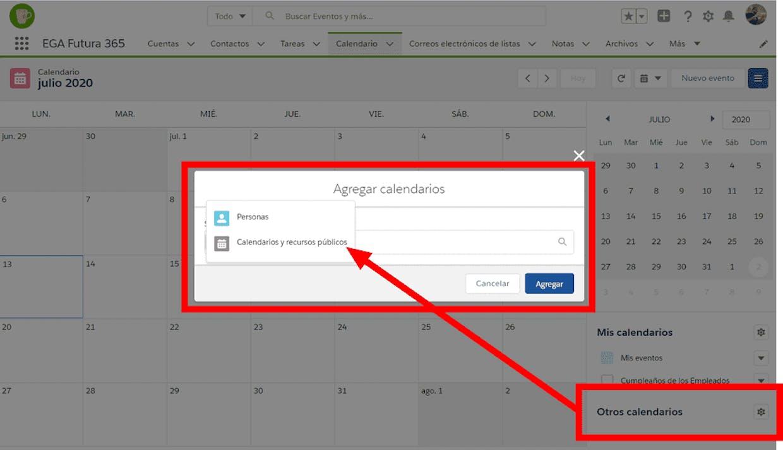 Como se hace para importar el calendario de eventos de otro usuario en el celular en la aplicacion movil de EGA Futura?