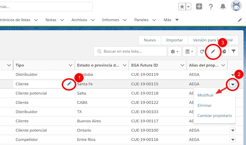Cómo puedo modificar un registro directamente desde una vista de lista?
