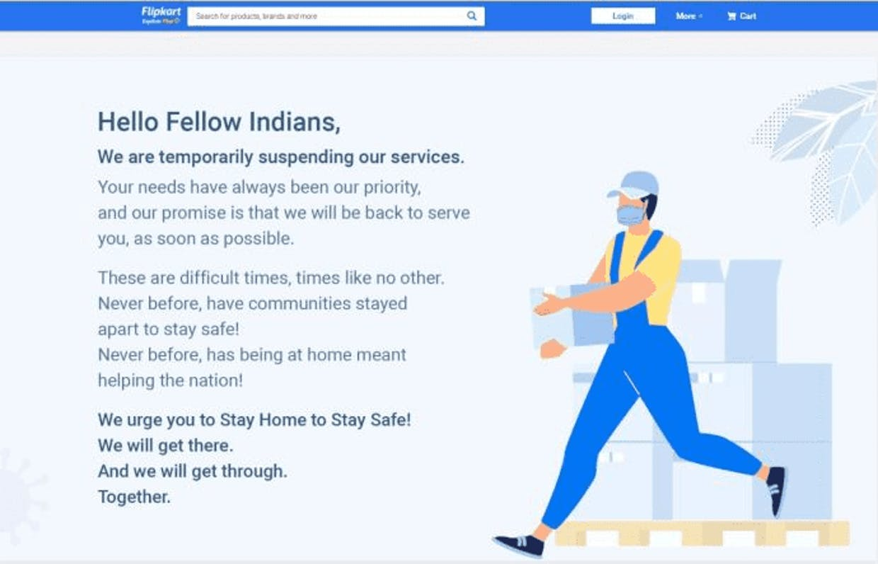 How is Flipkart affected by the 21 days Lockdown?