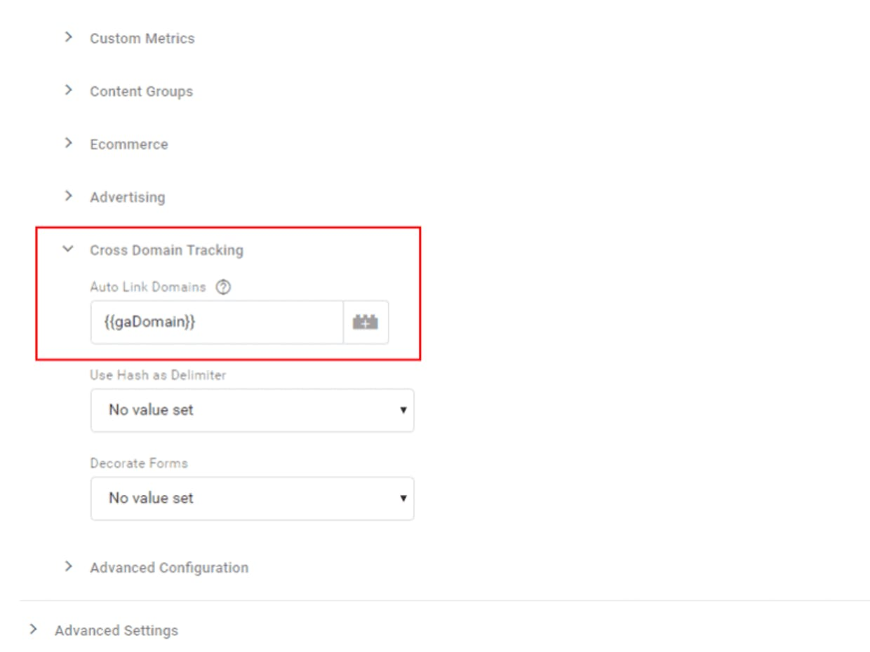 auto link domains google tag manager