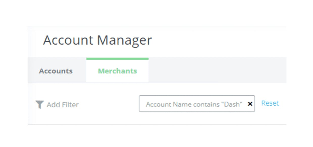The Account Manager view from dash/DATA STUDIO allows for Amazon account and merchant management directly in the dash platform