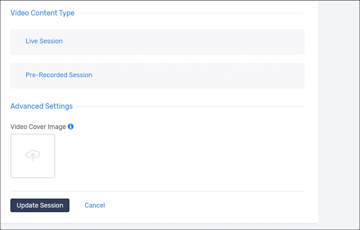 "This is the bottom of the session builder panel; your pre-recorded video can go into the ""Pre-Recorded Session"" tab above."