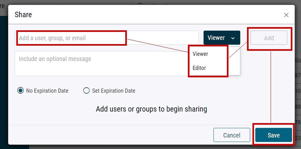To Share a file or folder:  Select User, then permissions, then Add and Save.