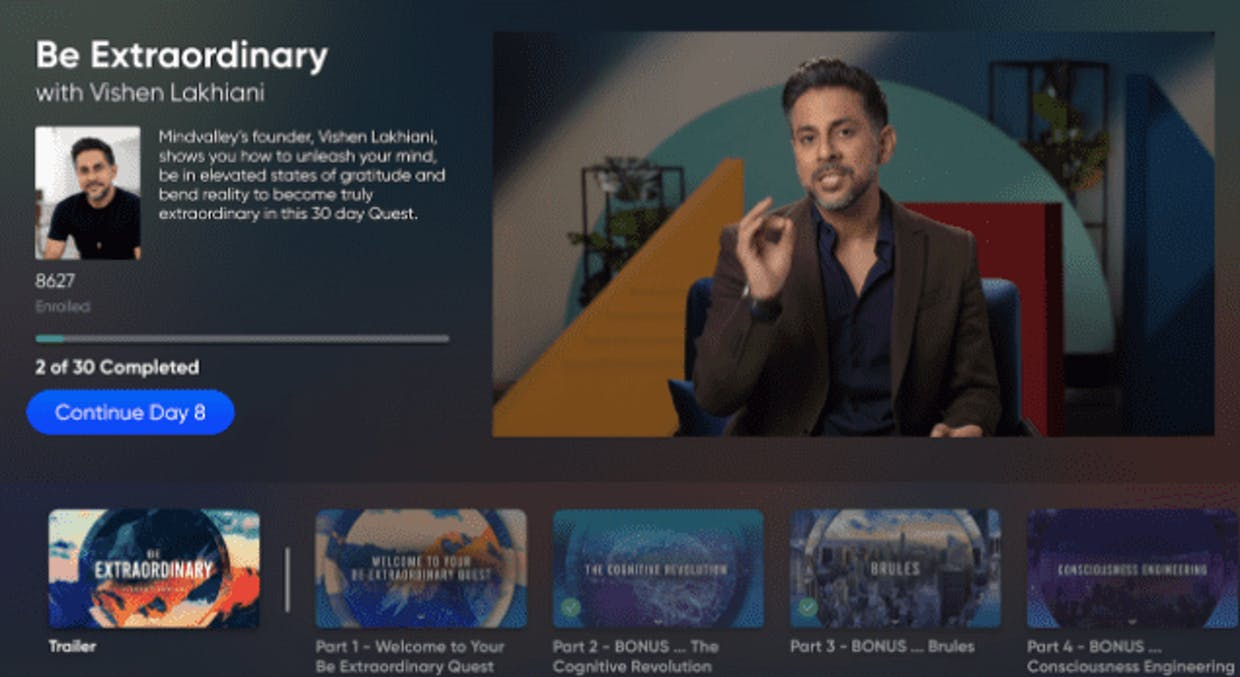 How can I access Mindvalley Quests on Apple TV?