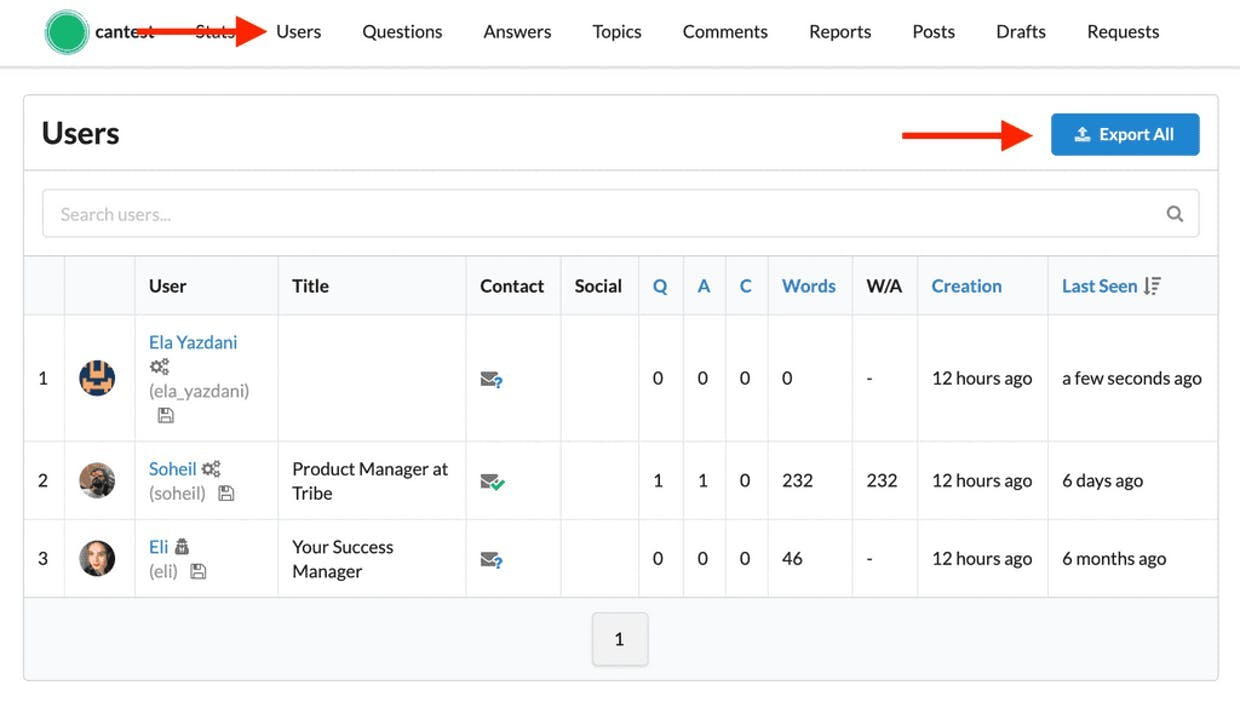 Admin Panel> Reports> Users> Export All